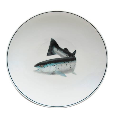Jersey Pottery Seaflower Collection Set of 4 Salad Plates, 23cm, Atlantic Salmon