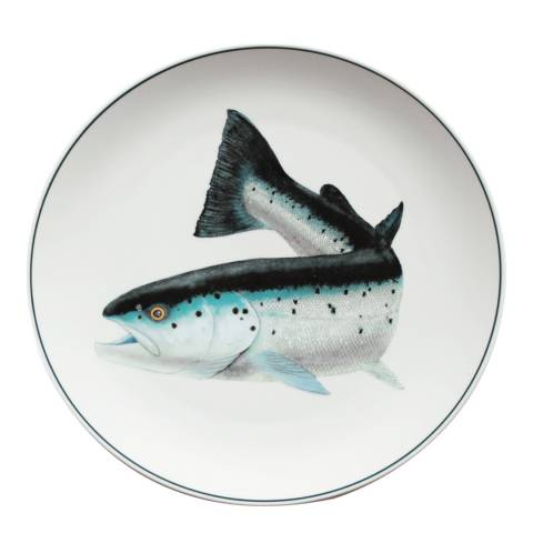 Jersey Pottery Atlantic Salmon Seaflower Charger Plate