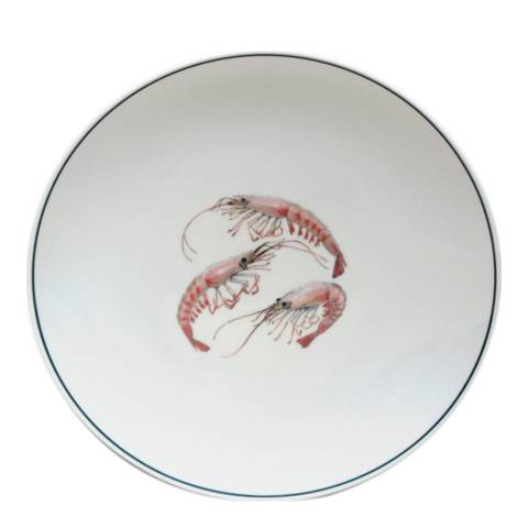 Jersey Pottery Seaflower Collection Set of 4 Salad Plates, 23cm, Shrimp