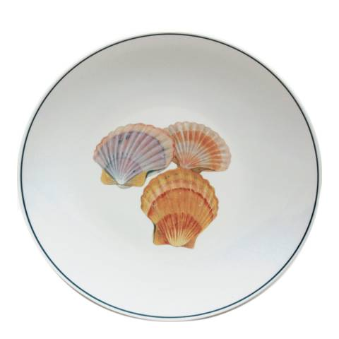 Jersey Pottery Set Of 4 Seaflower Collection Dinner Plates 280Mm, Scallop
