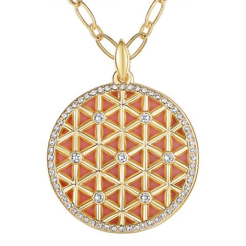 Tassioni Gold Pattern Disc Necklace