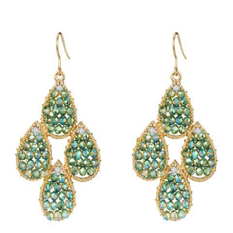 Tassioni Gold/Green Drop Earrings
