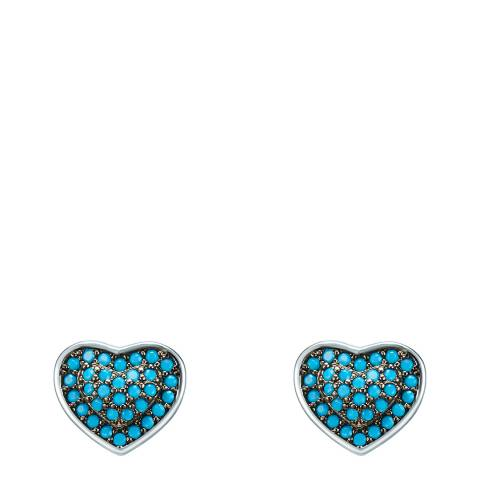 Tassioni Silver/Blue Heart Stud Earrings