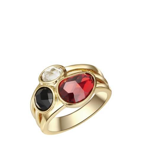 Tassioni Black/Red/White Gemstone Ring