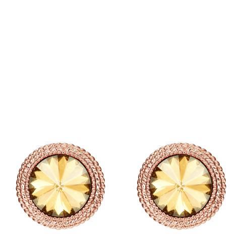 Tassioni Rose Gold/Light Brown Stud Earrings