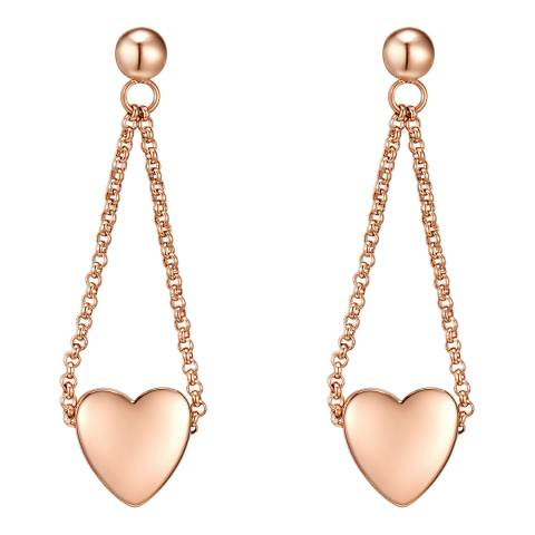 Tassioni Rose Gold Heart Drop Earrings