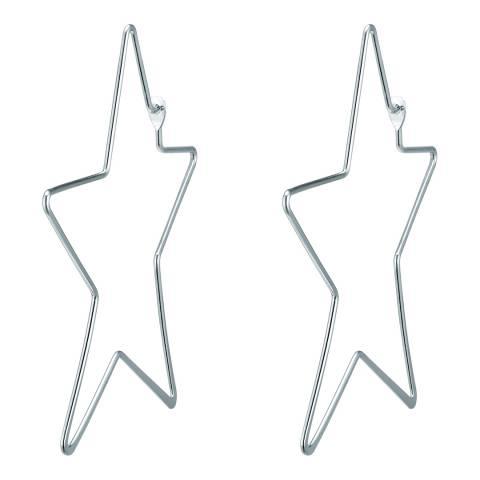 Tassioni Silver Star Hoop Earrings