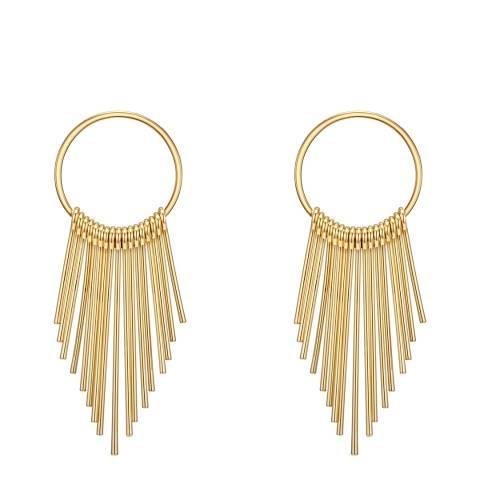 Tassioni Gold Linear Hoop Earrings