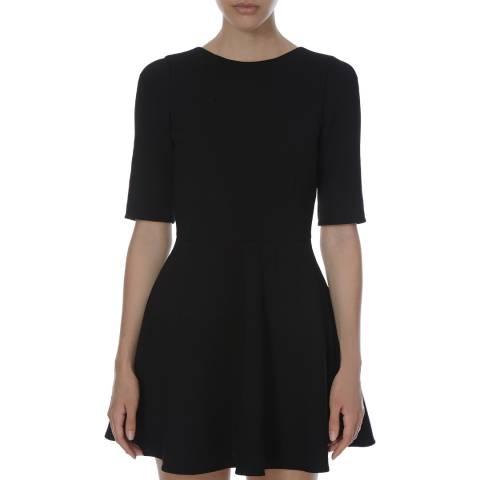 Dolce & Gabbana Womens Black Three Quarter Sleeve Wool Skater Dress