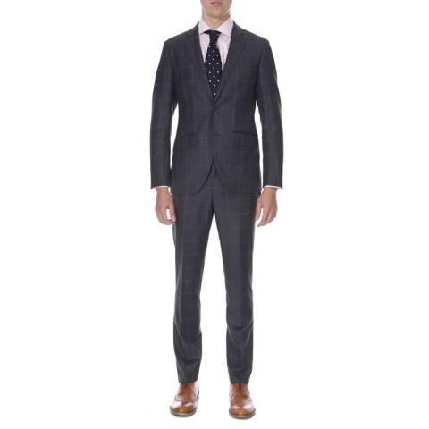 Hackett London Ash Grey/Blue Sharkskin Check Wool Suit