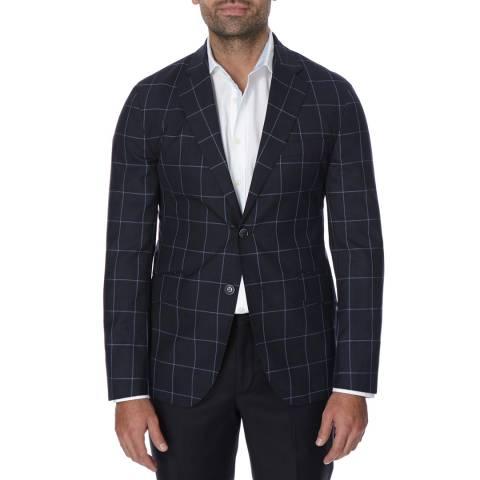 Hackett London Navy Lightweight Check Wool Blazer