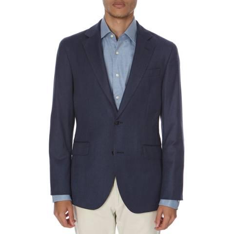 Hackett London Light Navy Plain Flannel Wool Blazer