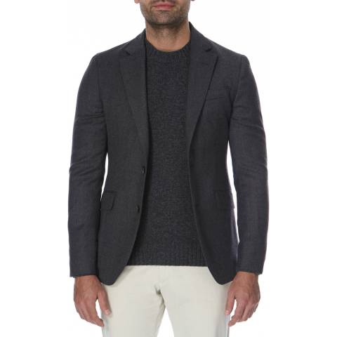 Hackett London Grey Plain Flannel Wool Blazer