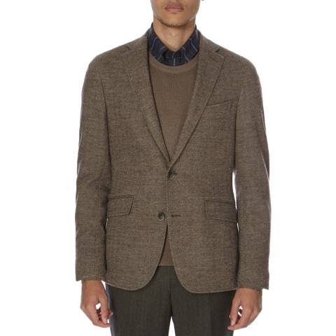 Hackett London Ash Brown Mayfair Jersey Wool Blend Blazer