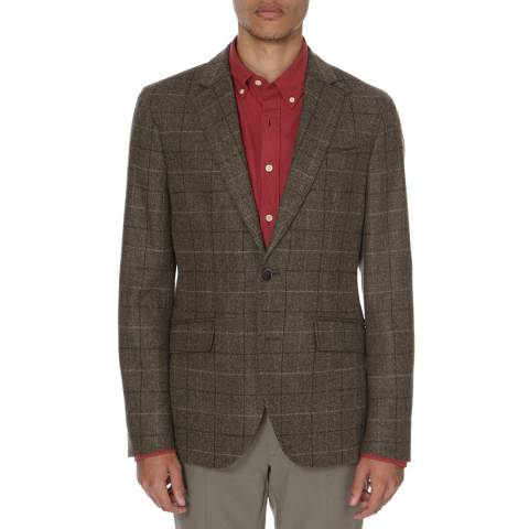 Hackett London Brown Tailored Wool Check Shetland Jacket