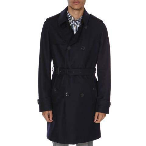 Hackett London Navy Mayfair Flannel Long Wool Trench Coat