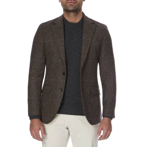 Hackett London Brown Tweed Two Check Wool Blazer