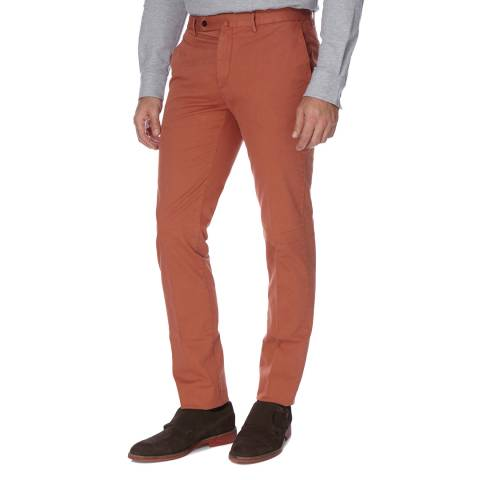 Hackett London Orange Slim Fit Cotton Blend Kensington Chino Trousers