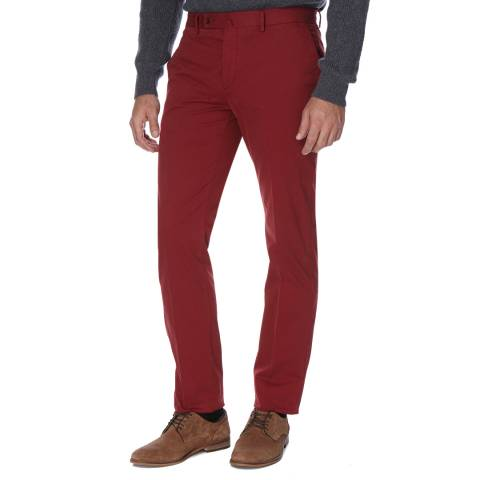 Hackett London Red Slim Fit Cotton Blend Kensington Chino Trousers