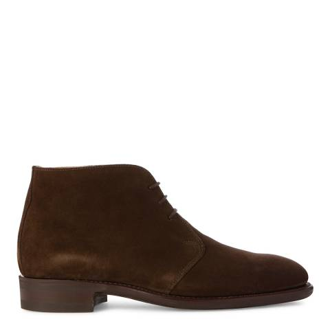 Hackett London Dark Brown Suede Lace Up Chukka Boots