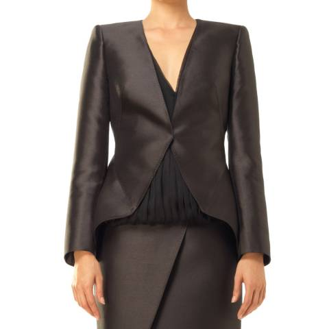 Leon Max Collection OLD STYLE Black Satin Twill Structured Blazer Jacket
