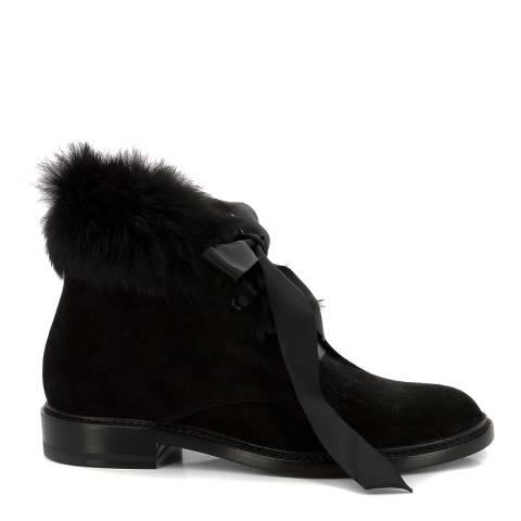 f04a813964 Yves Saint Laurent Black Suede Fur Trim YSL Ankle Boots