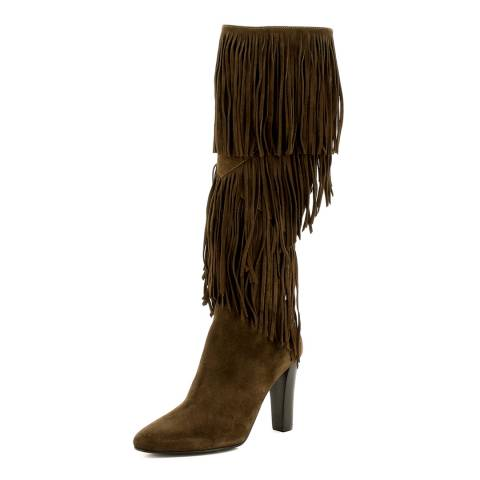 eb8e1173479 Yves Saint Laurent Tan Brown Suede Fringe YSL Knee Boots. prev