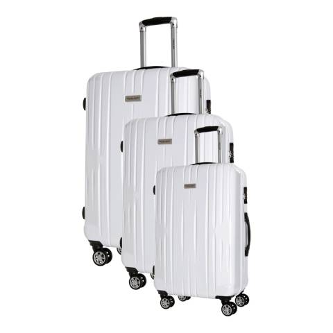 Travel One Set Of 3 White clifton Spinner Suitcases 45/55/65cm