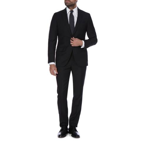 Hackett London Black Plain 2 Piece Classic Wool Suit