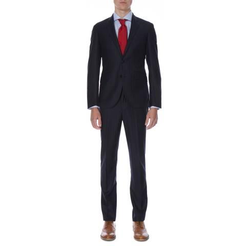 Hackett London Navy Chalk Stripe Tailored Fit Wool Suit