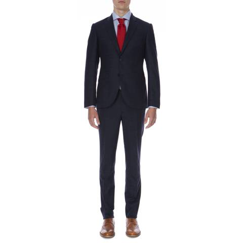 Hackett London Midnight Blue Travel Check Tailored Fit Wool Blend Suit