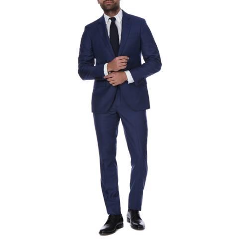 Hackett London Blue Sharkskin 2 Piece Classic Wool Suit