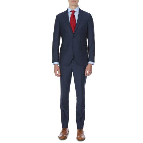 Hackett London Blue Tailored Fit Wool Mohair Blend Suit