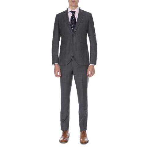 Hackett London Grey Classic Windowpane Tailored Wool Suit