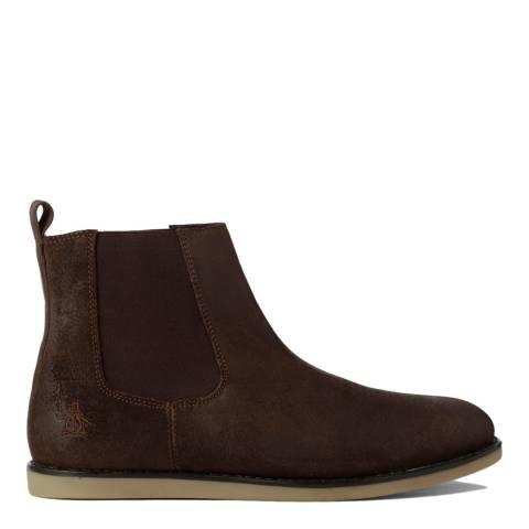 Original Penguin Dark Brown Wax Suede London Boots