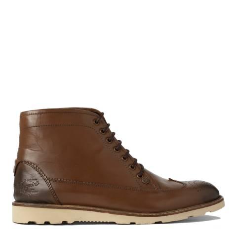 Original Penguin Brown Leather Creasy Brogue Boots