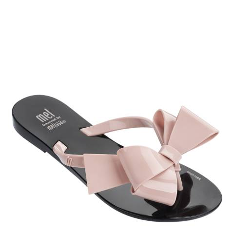 Melissa Black/Blush Kids Harmonic Gift Bow Flip Flops