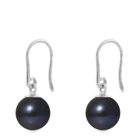 Manufacture Royale White Gold Black Pearl Drop Earrings 9-10mm