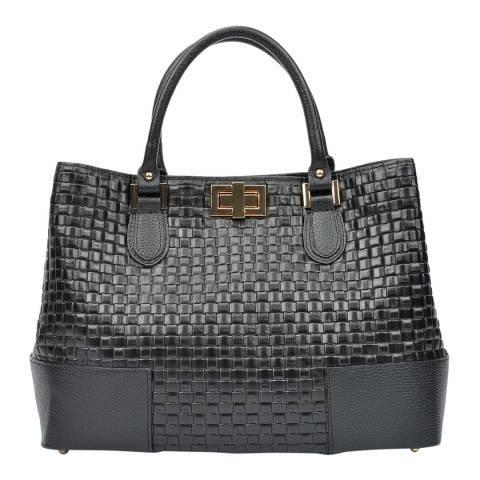 Carla Ferreri Black Leather Textured Handbag