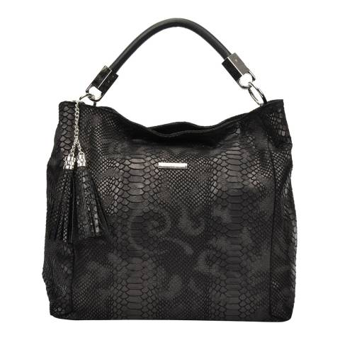 Carla Ferreri Black Leather Textured Hobo Bag