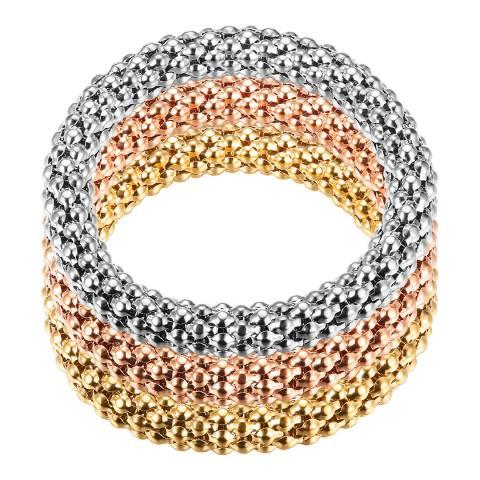 Chloe Collection by Liv Oliver Gold/Silver Textured Bracelet Set