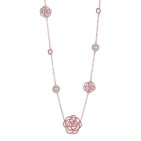 Chloe Collection by Liv Oliver 18K Rose Gold Multi Flower & Pearl Necklace
