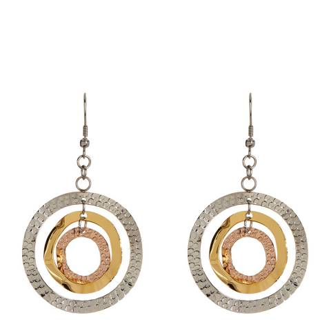 Chloe Collection by Liv Oliver Gold/Silver Hammered Disc Earrings
