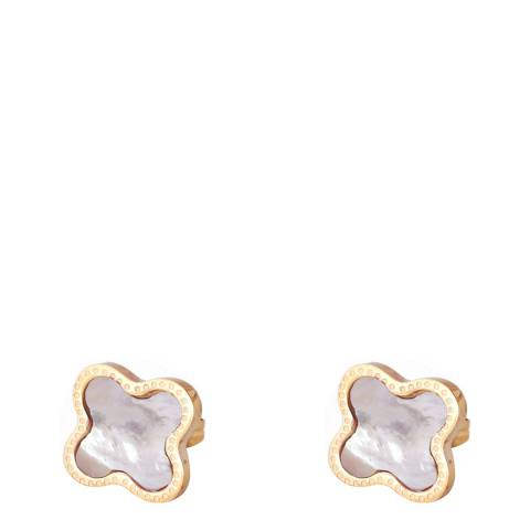 Chloe Collection by Liv Oliver Gold Mother of Pearl Clover Earrings