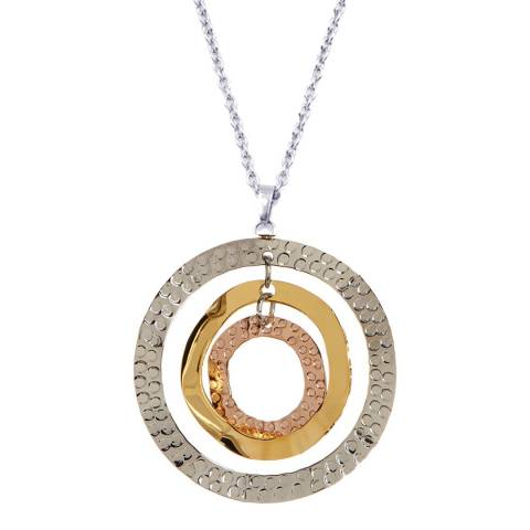 Chloe Collection by Liv Oliver Gold/Silver Hammered Disc Necklace