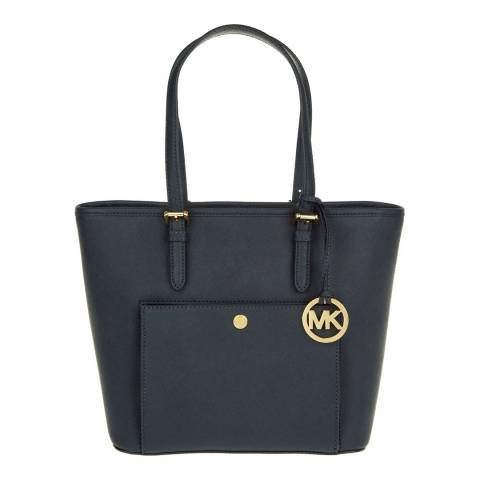Michael Kors Navy Jet Set Travel Medium Leather Tote