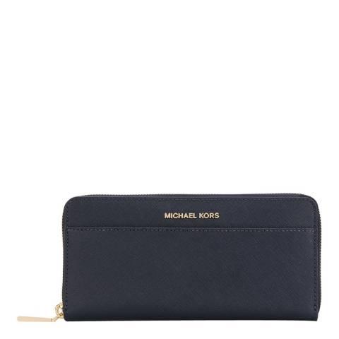 Michael Kors Navy Jet Set Leather Continental Wallet