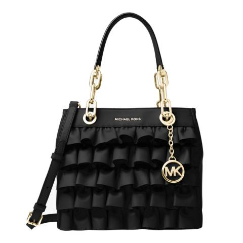 Michael Kors Black Cynthia Small Ruffled Leather Bag