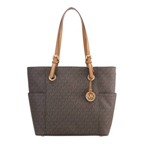 Michael Kors Brown Jet Set Travel Small Logo Tote