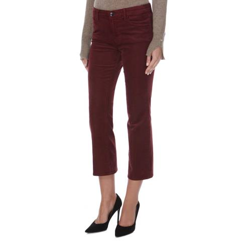 J Brand Ox Blood Selena Mid Rise Crop Boot Cut Corduroy Jeans